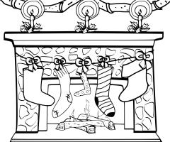 Coloriage cheminée de noël