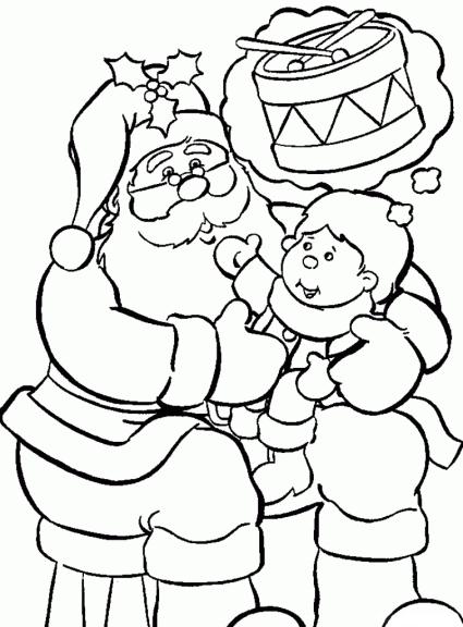 Coloriage enfant avec père noël