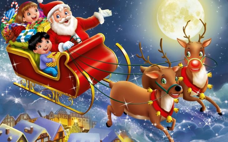 Pere Noel avec des enfants