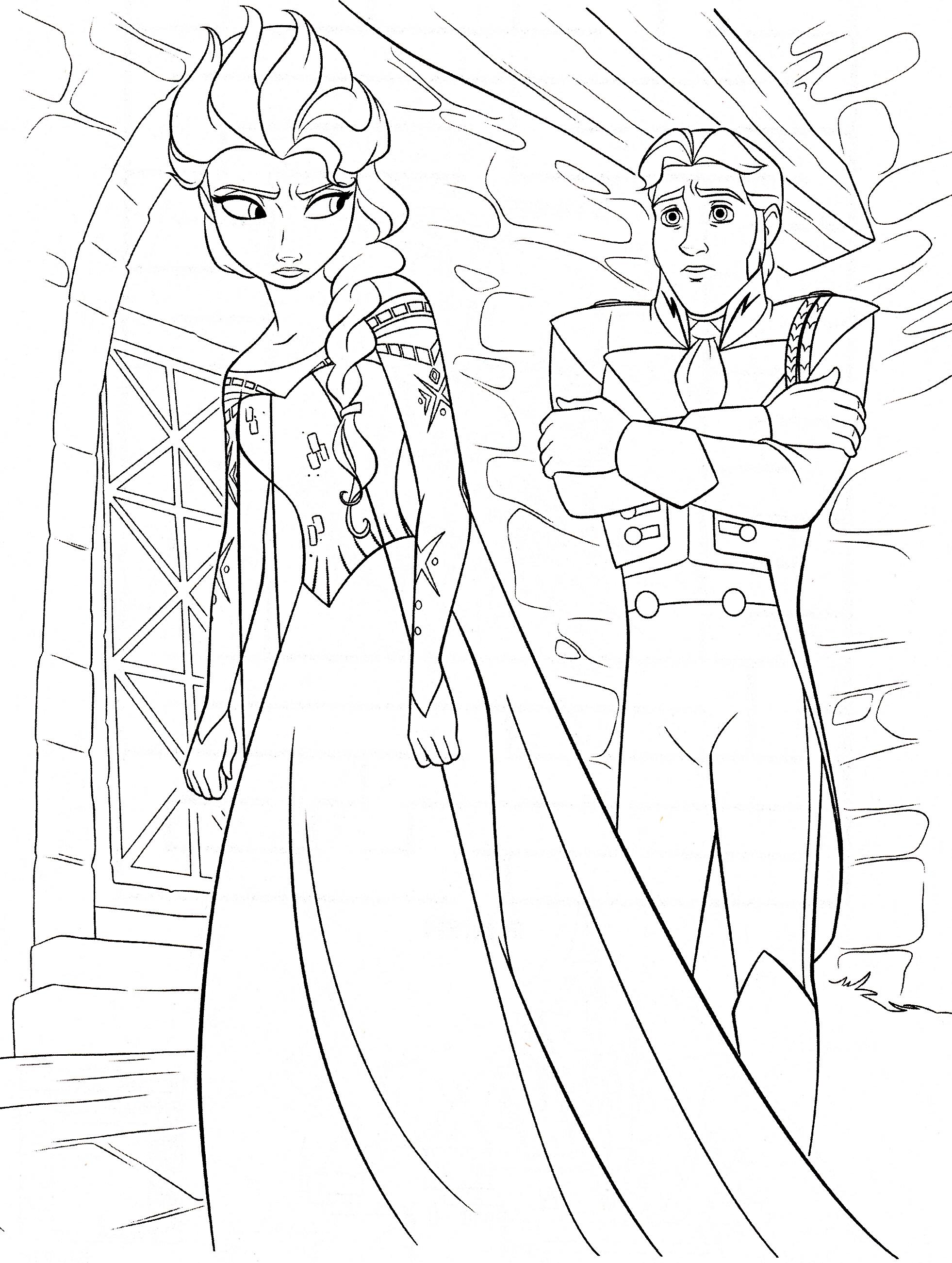 Coloriage Princesse Elsa Et Prince Hans à Imprimer
