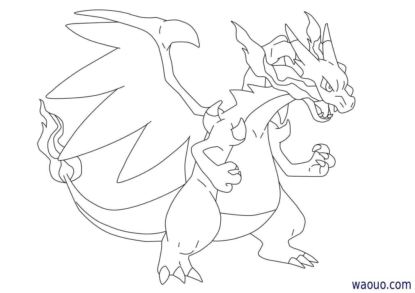 Coloriage m ga dracaufeu x pokemon imprimer et colorier - Pokemon x et y legendaire ...