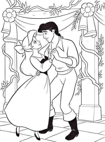 Coloriage princesse Ariel et Eric
