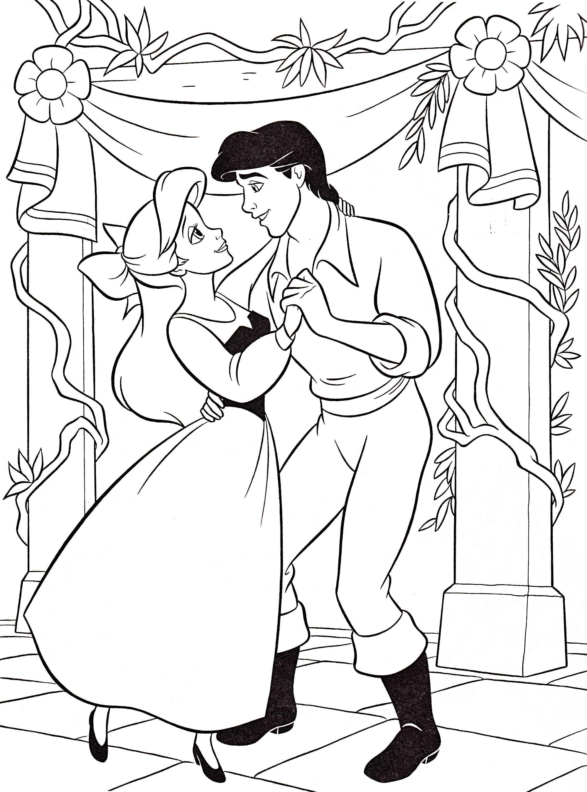 Coloriage De Princesse Ariel A Imprimer.Coloriage Disney Princesse Ariel Et Prince Eric A Imprimer