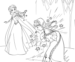 Coloriage princesses Elsa Anna
