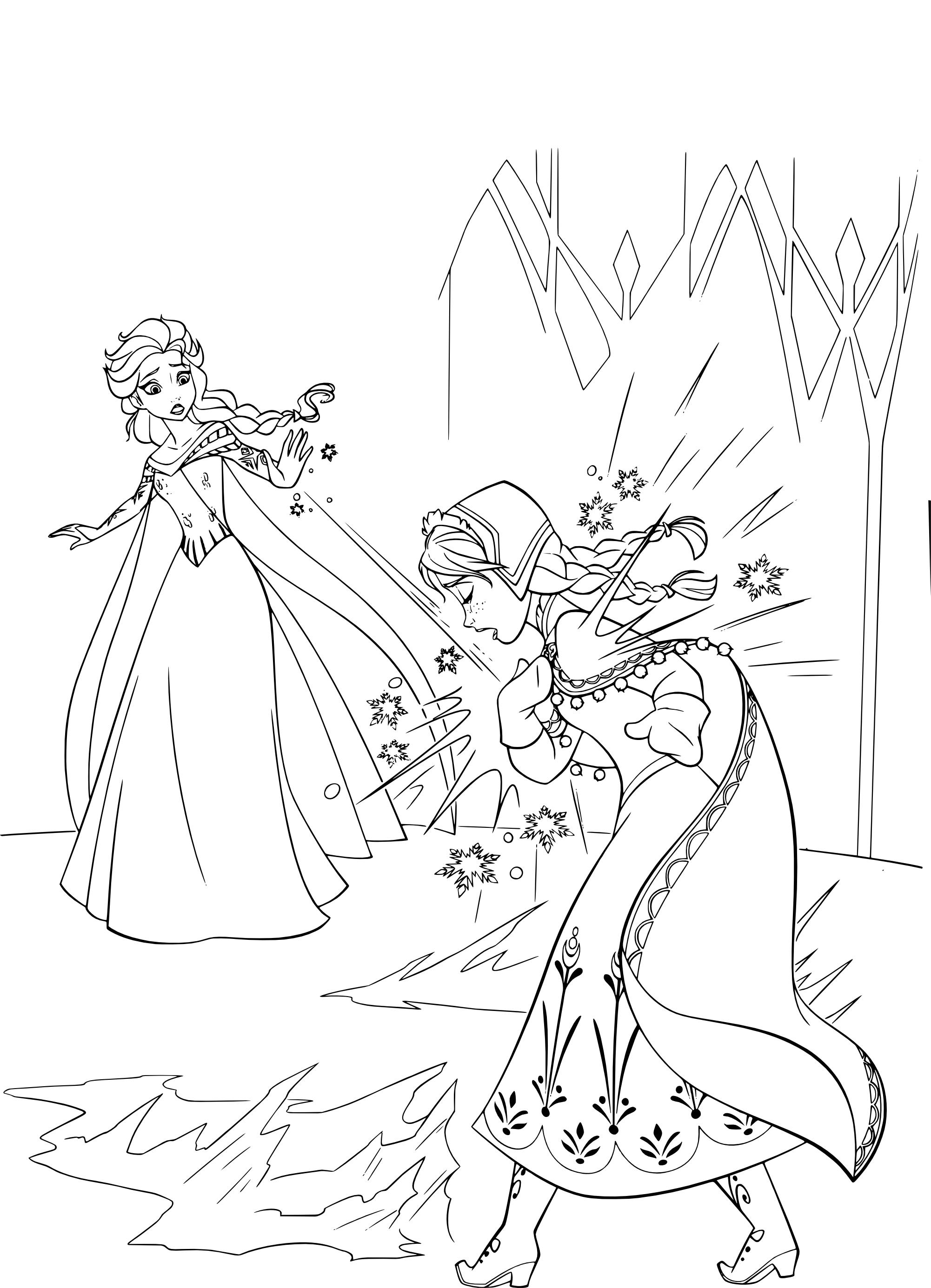 Coloriage Princesses Disney Elsa Et Anna A Imprimer