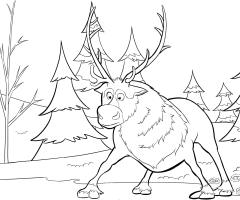 Coloriage Sven le renne