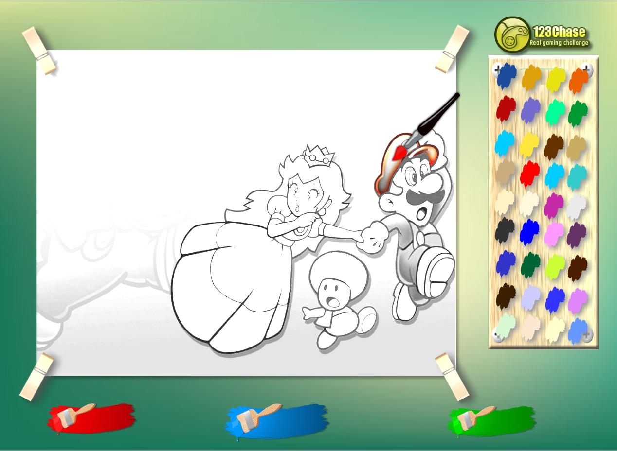 Jeu de coloriage Luigi et princesse Peach gratuit en ligne