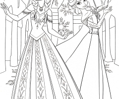 Coloriage Disney Elsa Anna
