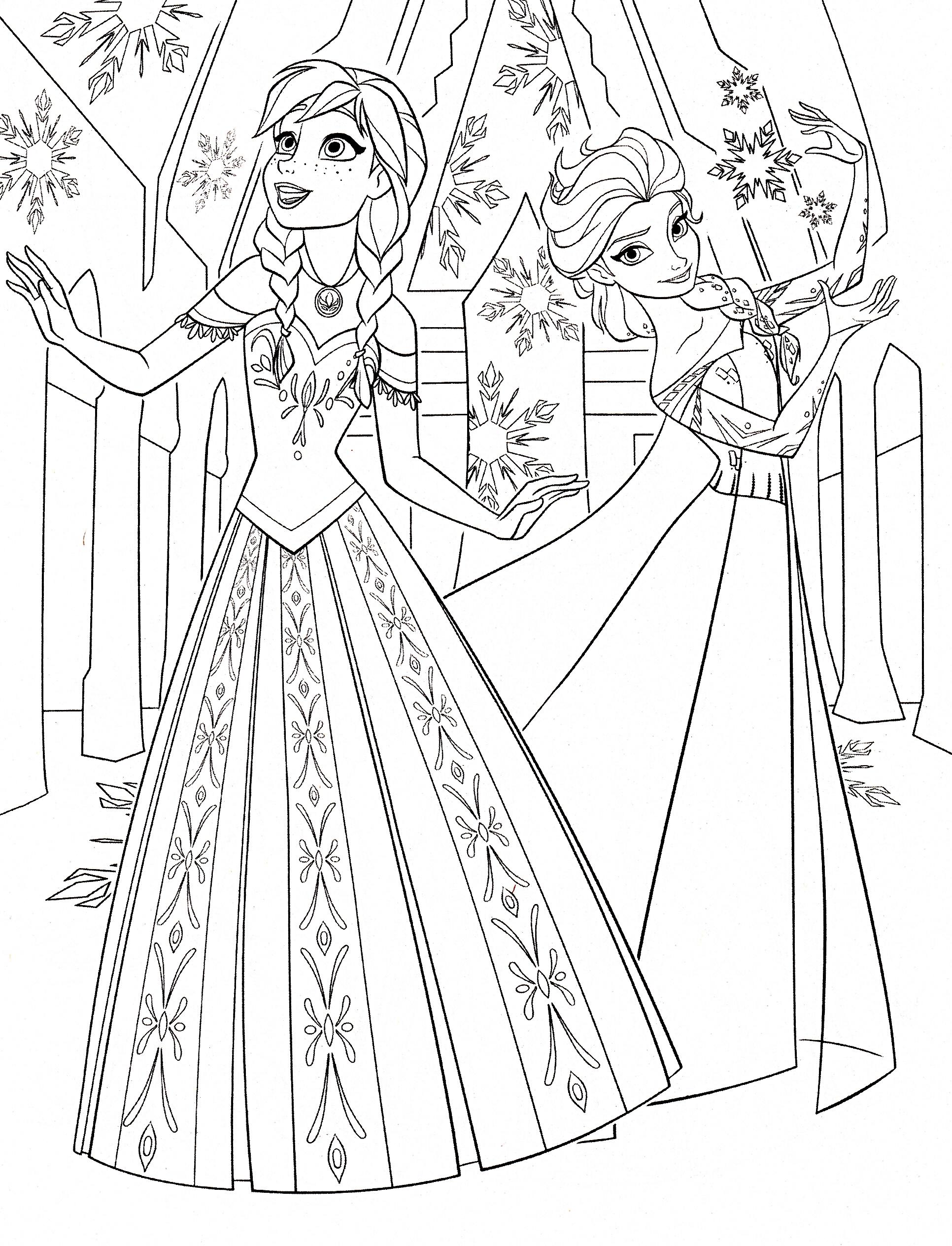Coloriage Disney Elsa Montre Ses Pouvoirs A Anna A Imprimer
