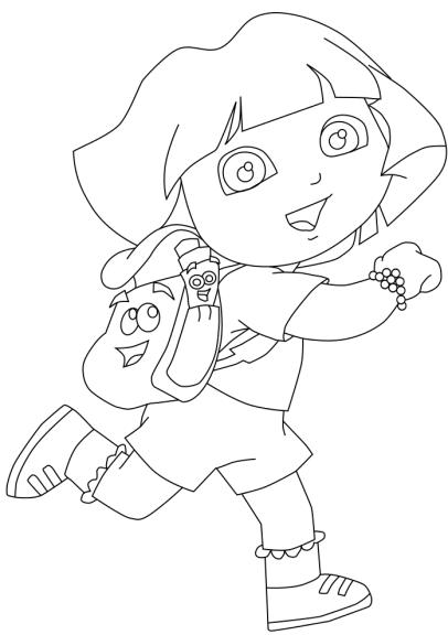 Coloriage Dora à l'aventure