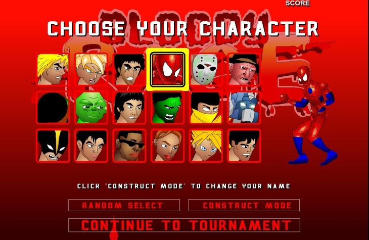 Choix de heros pour combattre