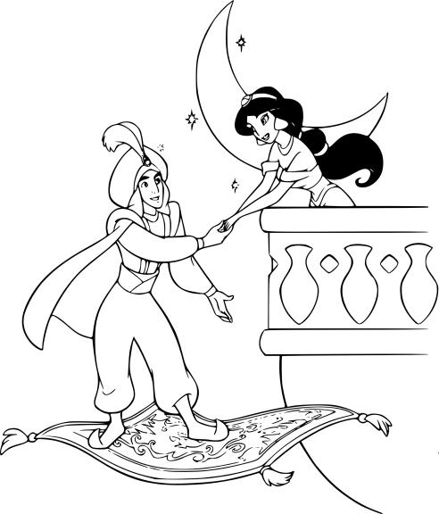 Coloriage Aladdin et Jasmine tapis magique