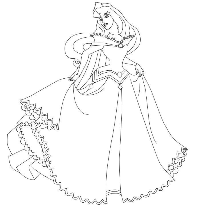 Princesse : Coloriage Aurore à imprimer et colorier