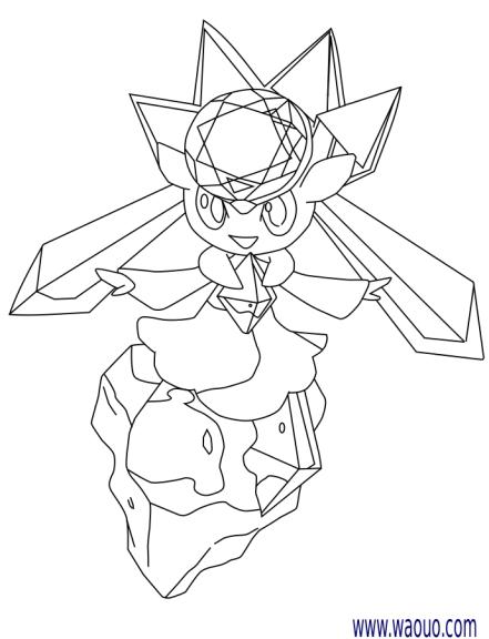 Coloriage diancie pokemon l gendaire x et y imprimer - Dessin pokemon legendaire ...
