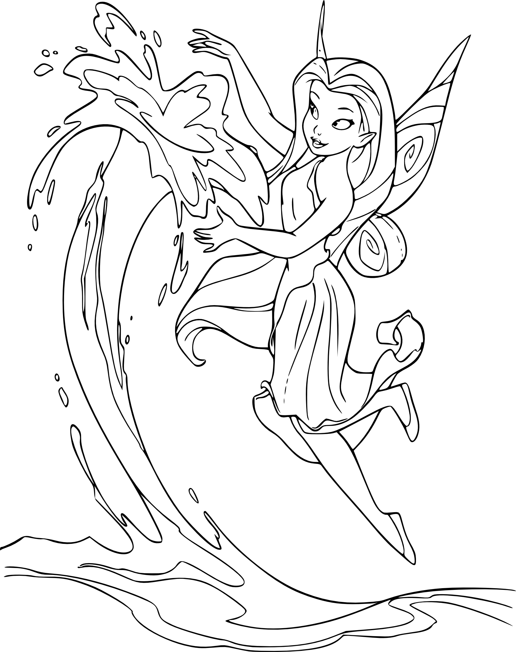 Coloriage Fee Bleue.Coloriage La Fee Aquatique Ondine A Imprimer Et Colorier