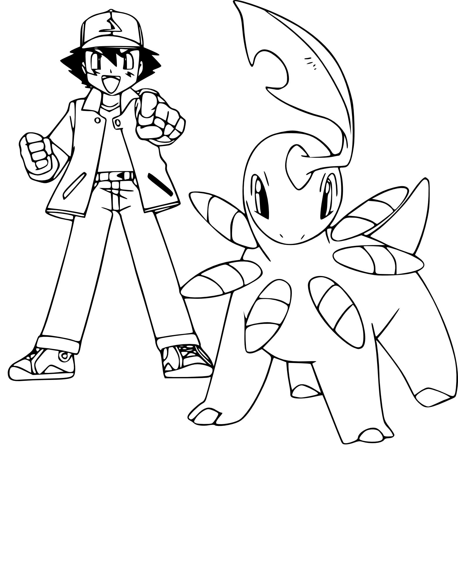 Coloriage Sacha Et Le Pokemon Macronium A Imprimer