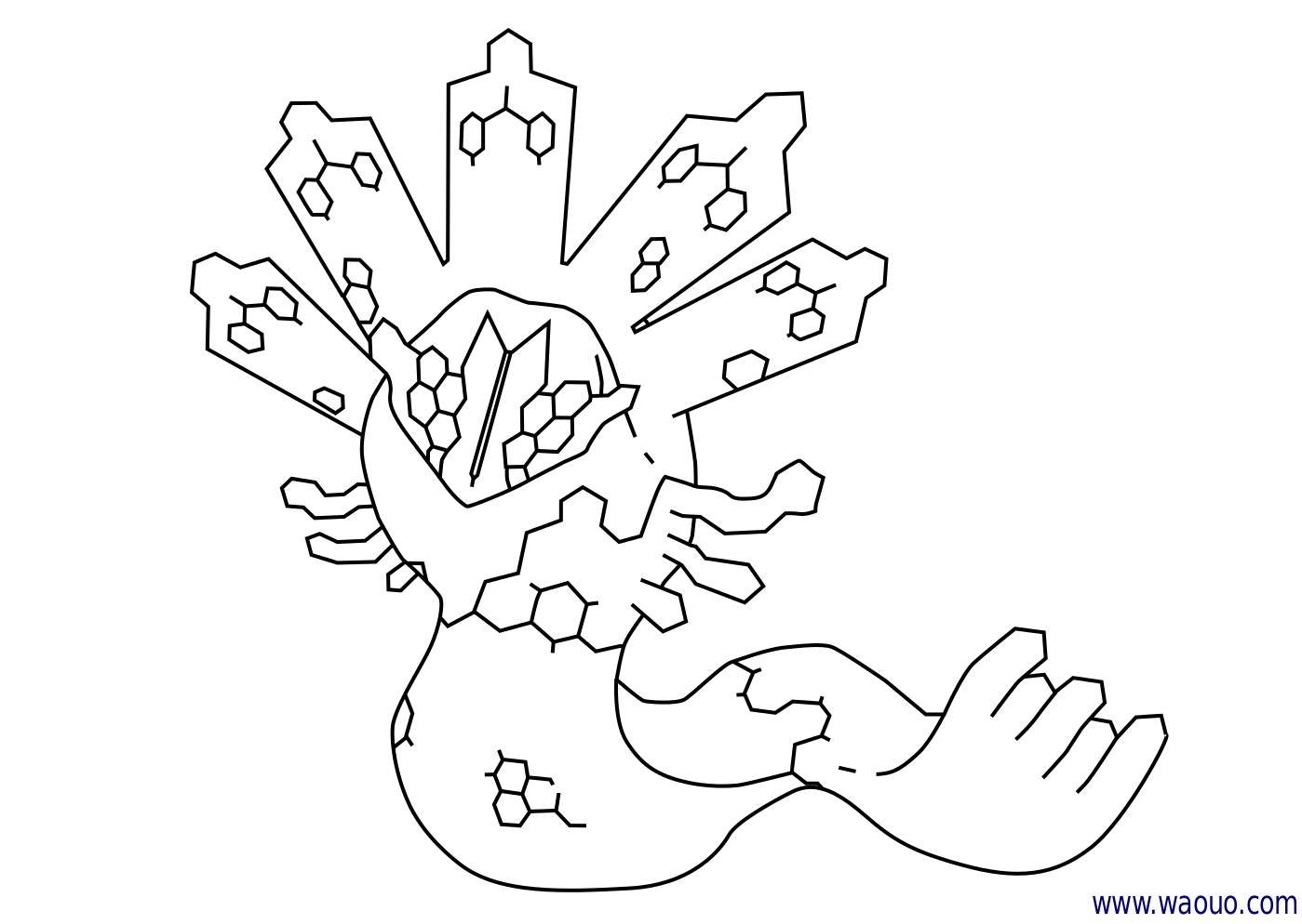 Coloriage Zygarde Pokemon légendaire X et Y à imprimer