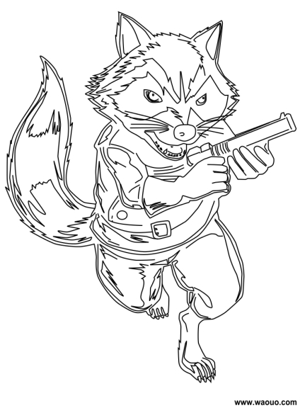 Coloriage Rocket Raccoon