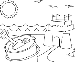 Coloriage chateau de sable