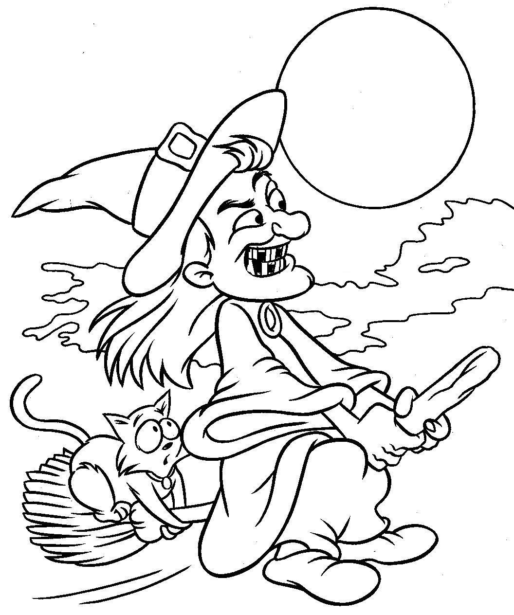 Coloriage sorcière Halloween à imprimer