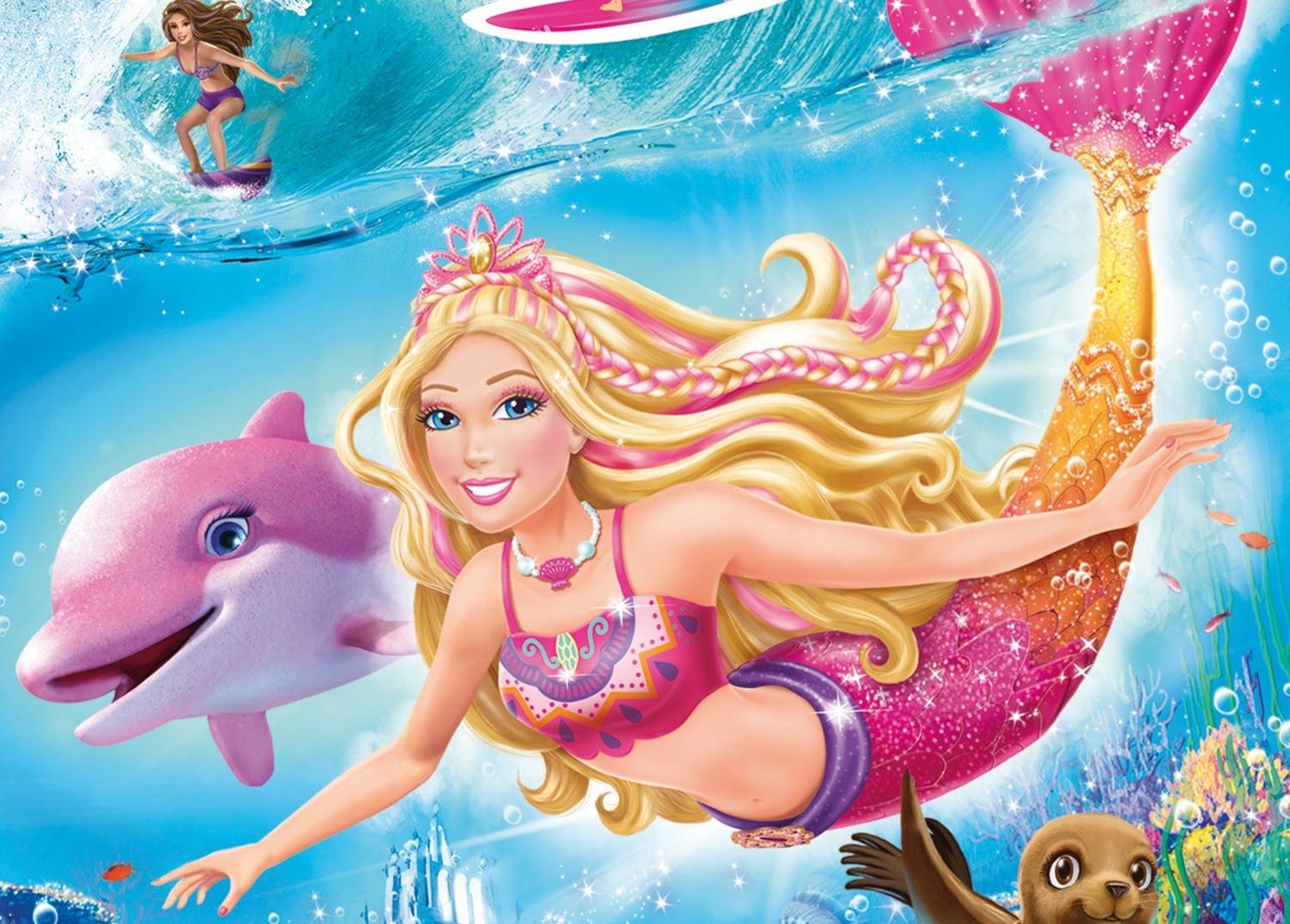 Coloriage barbie nage avec un dauphin - Dauphin dessin couleur ...