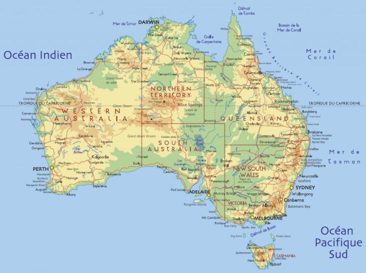 Carte Australie territoire