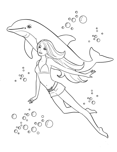 Coloriage Barbie dauphin