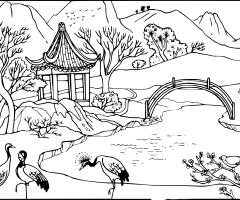 Coloriage Jardin de Chine