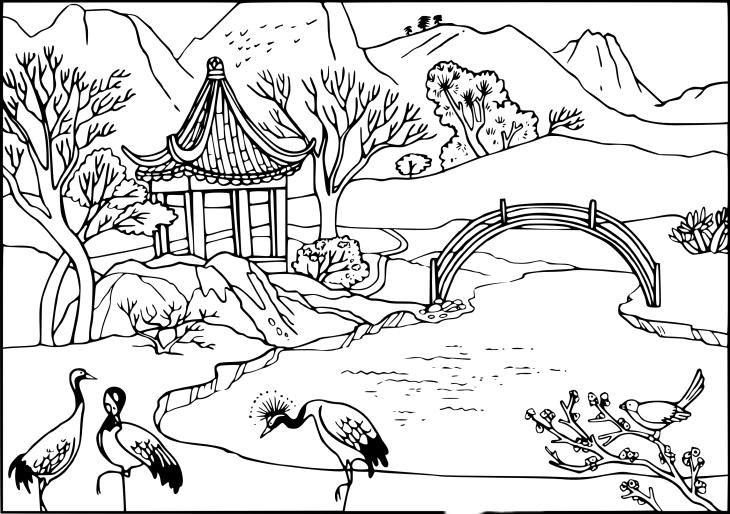 Coloriage Jardin De Chine Imprimer Et Colorier