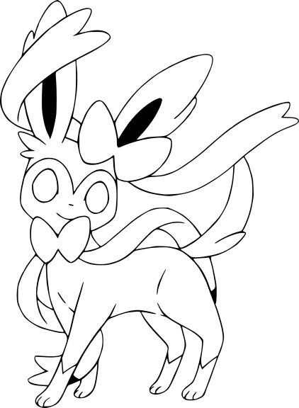 Coloriage Nymphali Pokemon X et