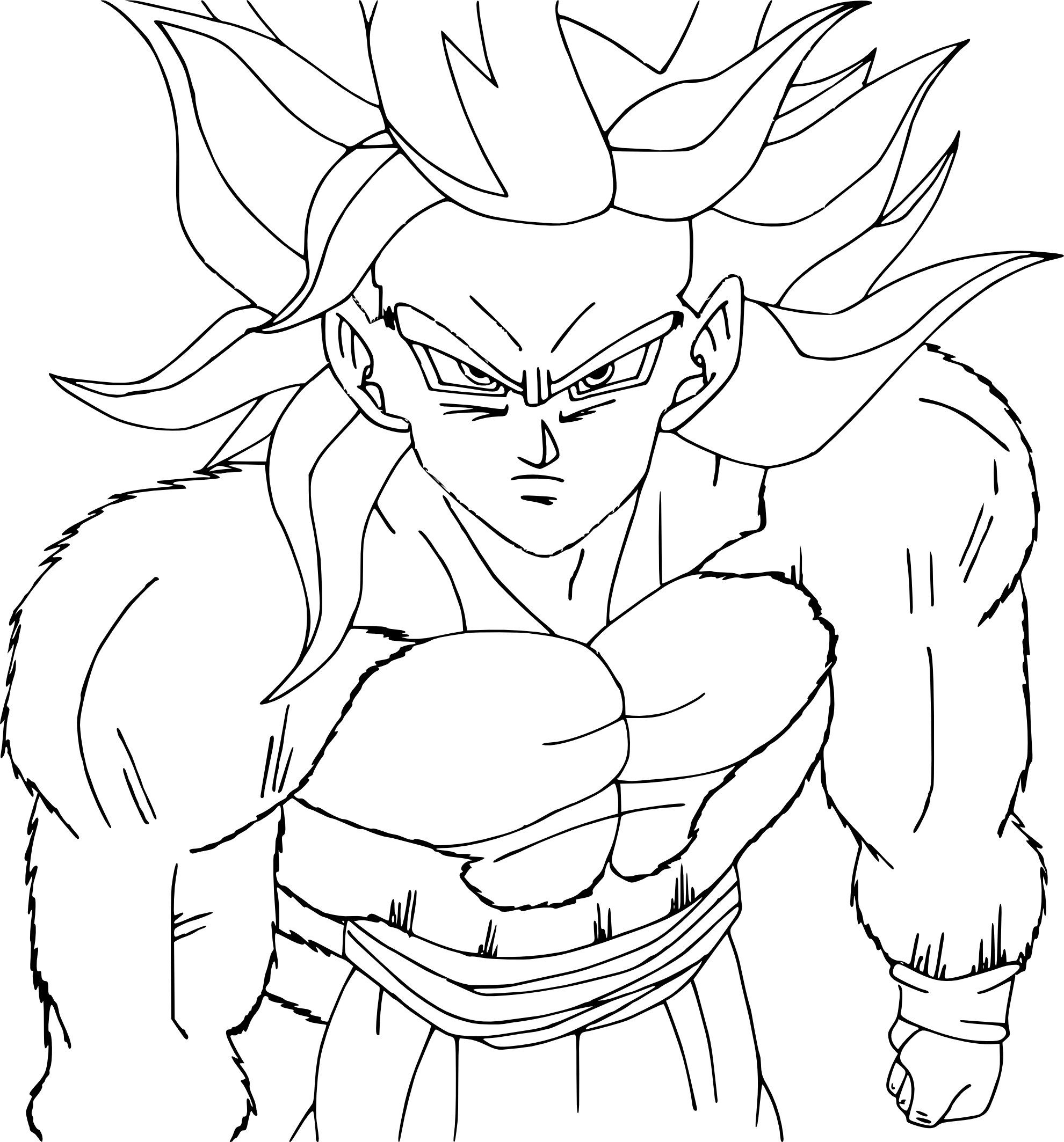 Beau Coloriage Dragon Ball Z Sangoku Super Sayen 3 A Imprimer