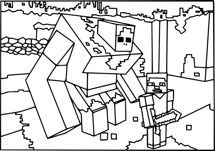 Coloriage Zombie mutant Minecraft