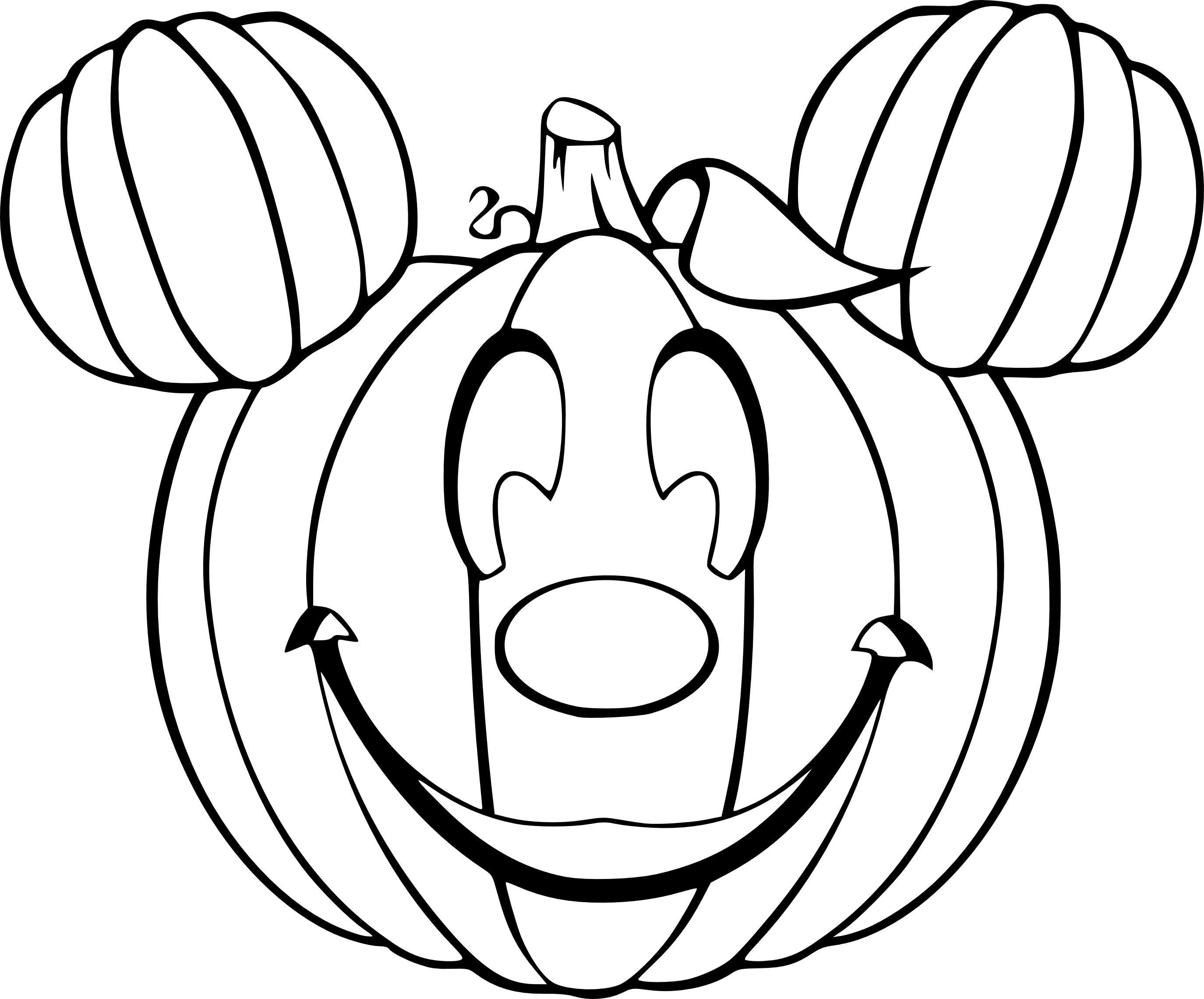 Coloriage citrouille Mickey à imprimer et colorier