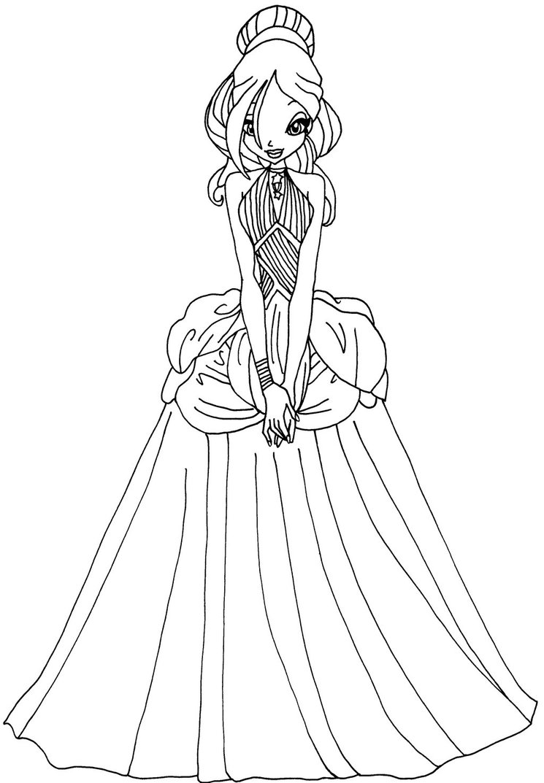 Coloriage Fee Winx Imprimer.Coloriage Princesse Daphne Winx A Imprimer Et Colorier