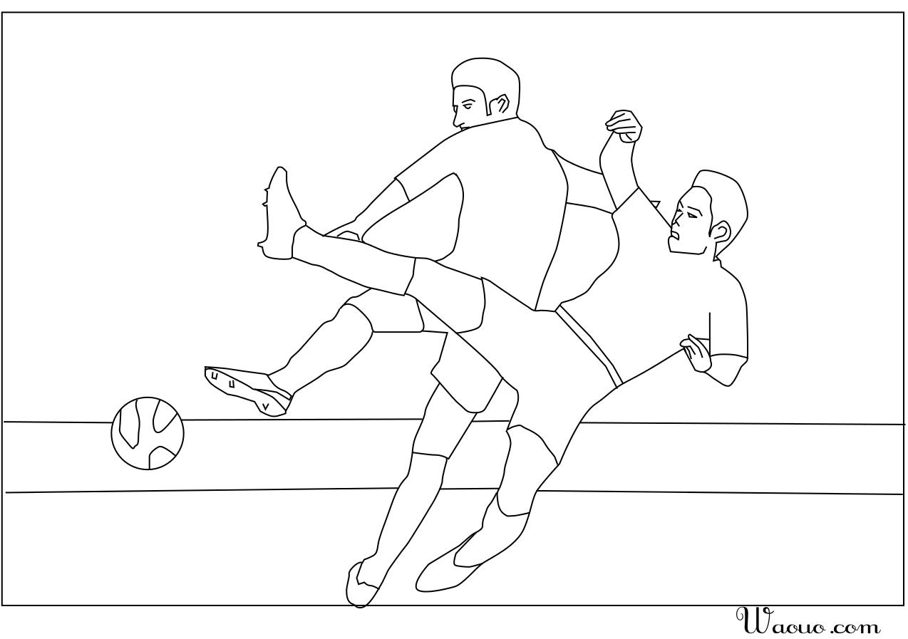 Coloriage Deux Joueurs De Football à Imprimer Et Colorier