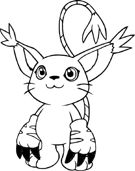 Coloriage Gatomon Digimon à imprimer et colorier