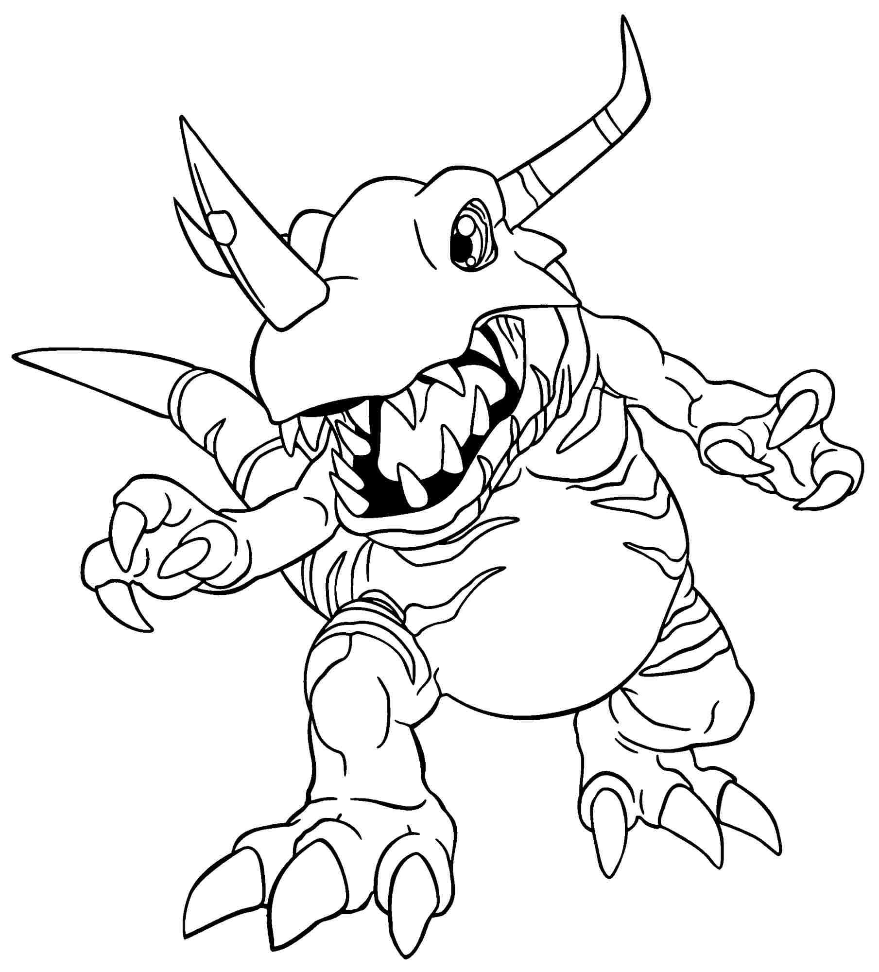Coloriage Greymon Digimon à imprimer et colorier