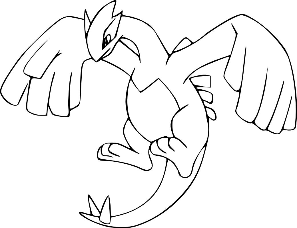 Coloriage Lugia Pokemon légendaire à imprimer et colorier