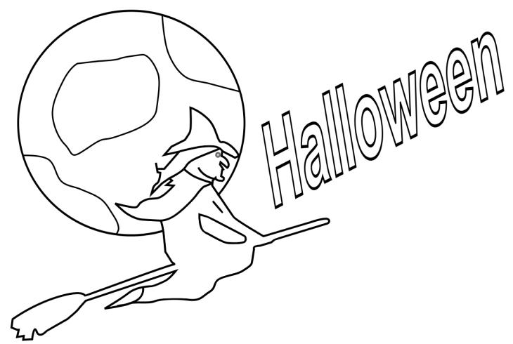 Coloriage Sorciere Halloween Sur Son Balai A Imprimer