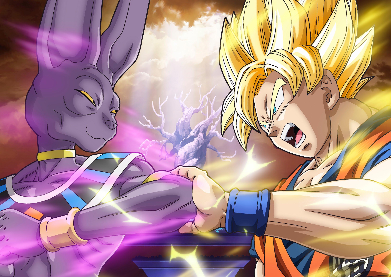 Coloriage Beerus Et Goku Super Saiyajin God A Imprimer