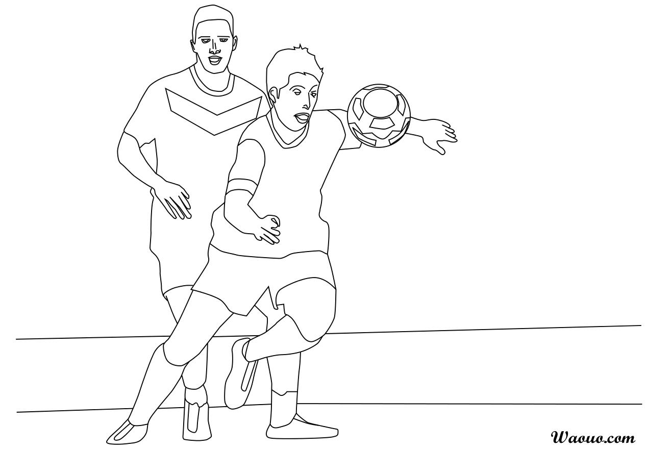 Coloriage 2 footballeurs à imprimer et colorier