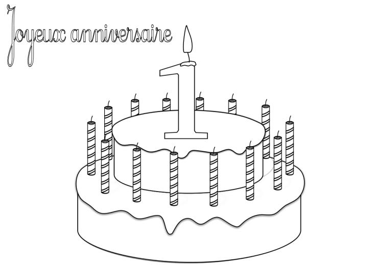 Coloriage anniversaire 1 an