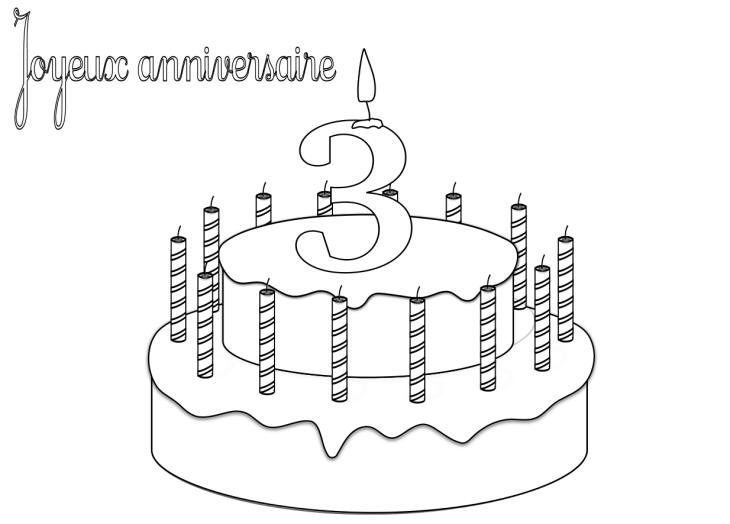 Coloriage anniversaire 3 ans