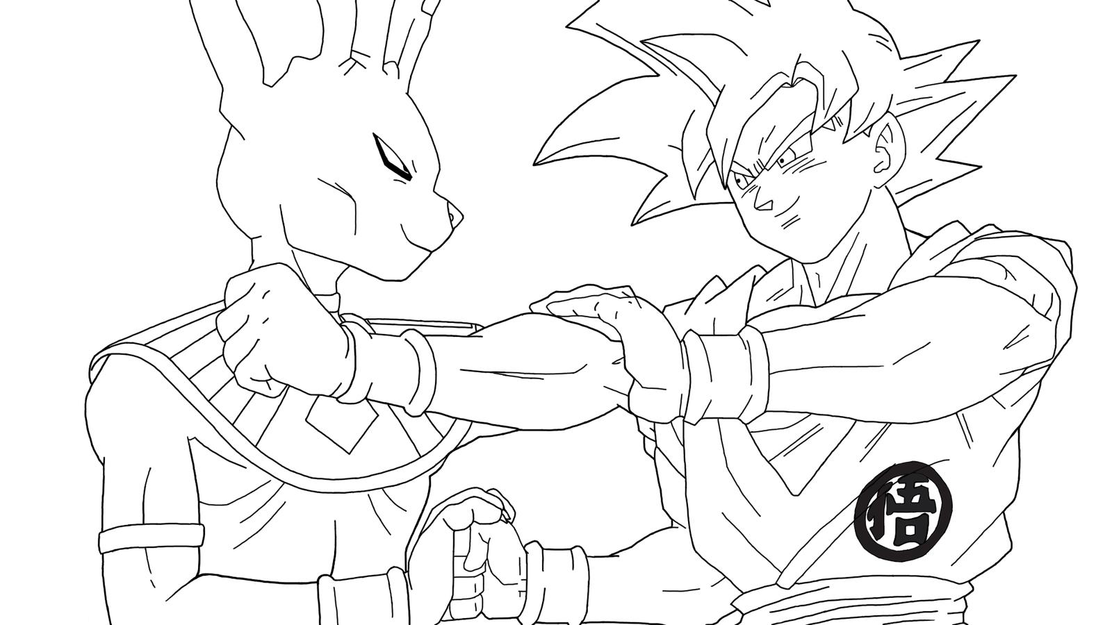 Coloriage Beerus Et Goku Super Saiyajin God à Imprimer