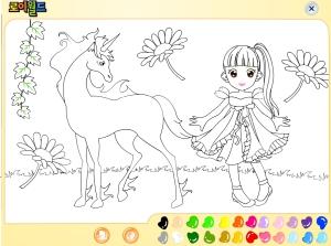 Coloriage fille licorne