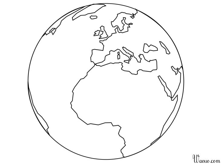 Coloriage Globe Terrestre à Imprimer Et Colorier