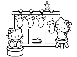 Coloriage Hello Kitty noel