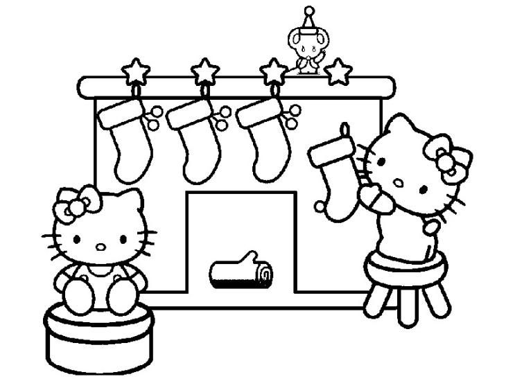 Coloriage Hello Kitty Noël à Imprimer Et Colorier