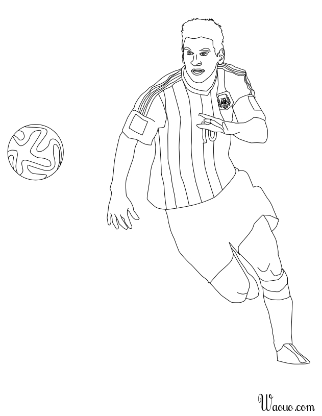 coloriage joueur football lionel messi barcelone