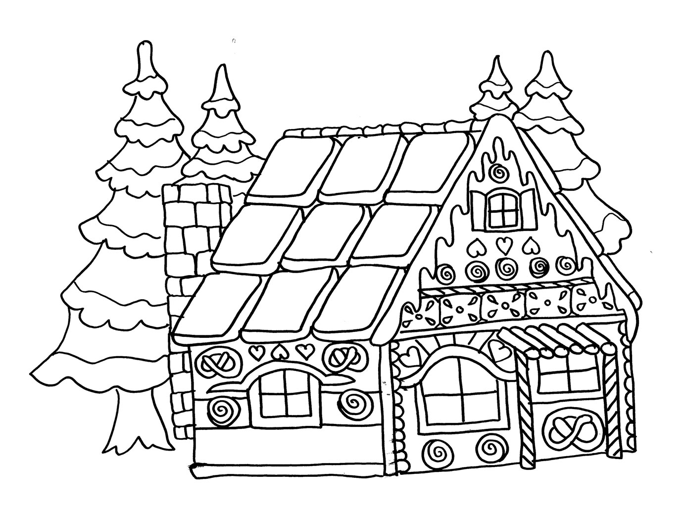 Coloriage maison pain depices